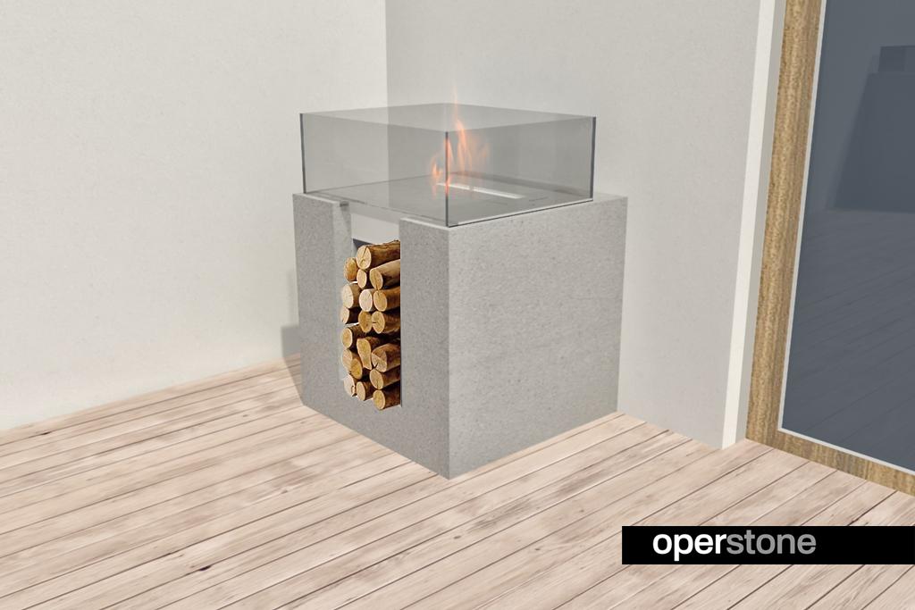 cheminee bio ethanol fireplace operstone concrete beton 3